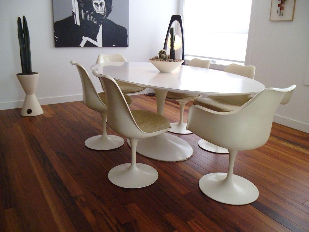 Vintage Mid Century Modern Saarinen Knoll Tulip Dining Table Chairs Eames
