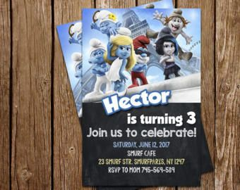 Smurfs Invitation Smurfs Party Smurfs Birthday Smurfs