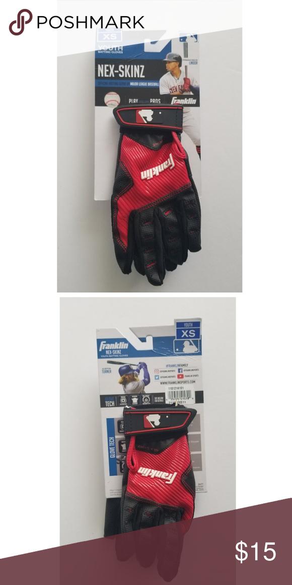 Franklin Youth Batting Red Black Gloves Size S Black Gloves