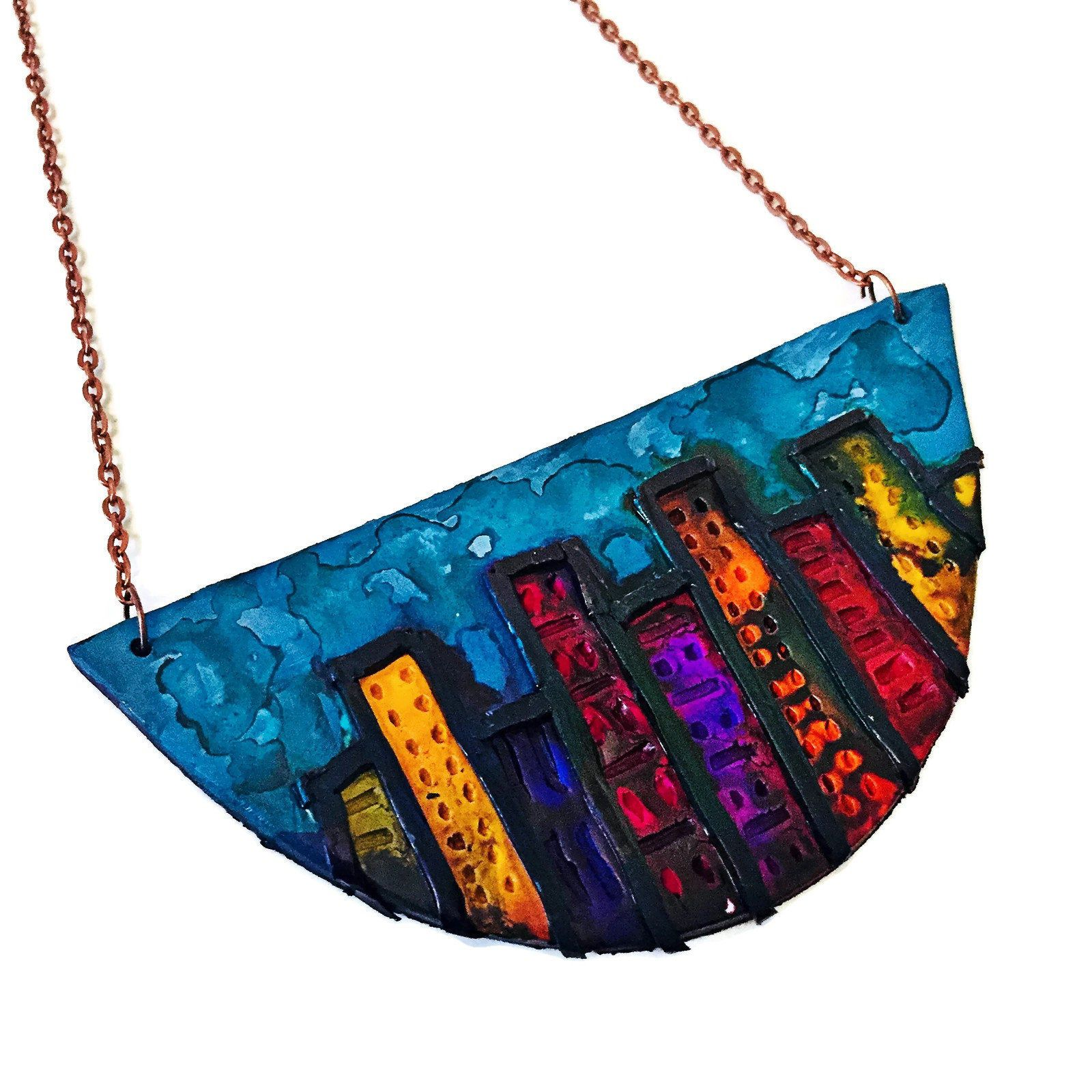 Cityscape Skyline Necklace, Architecture Jewelry, Polymer Clay Jewelry Hand Painted with Alcohol Ink #pictureplacemeant