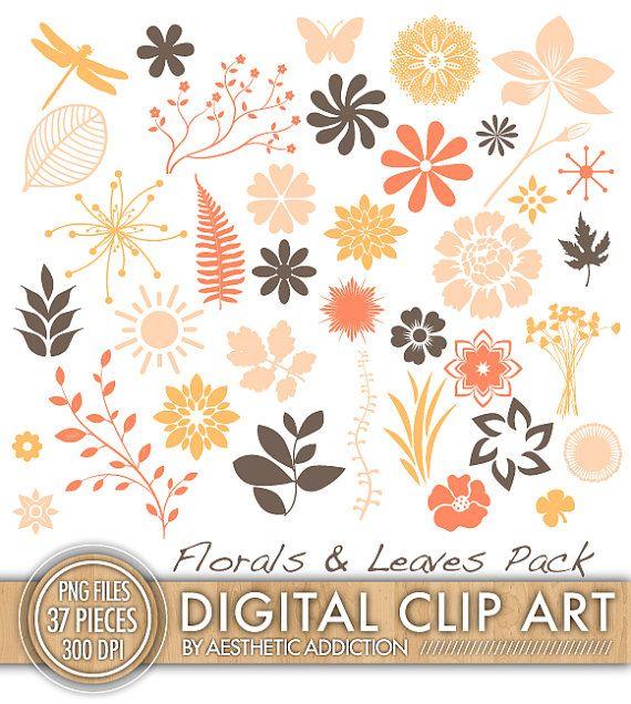 INSTANT DOWNLOAD - Fall Autumn Floral Clip Art Set - Scrapbooking ...