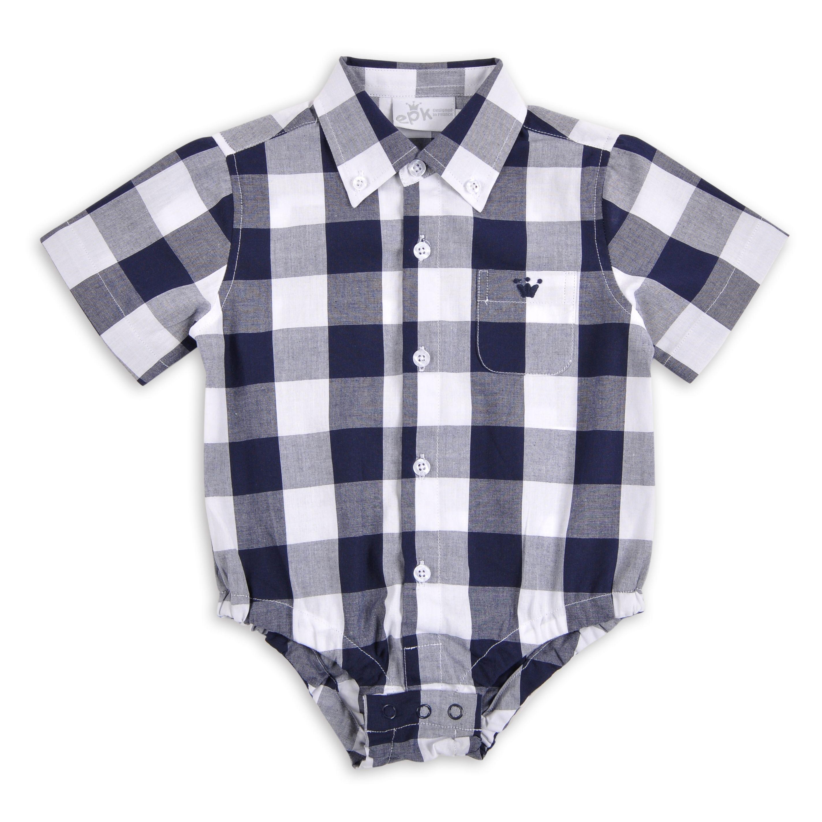 db8d12ea9 Body EPK para bebe niño de cuadros azul marino y blanco