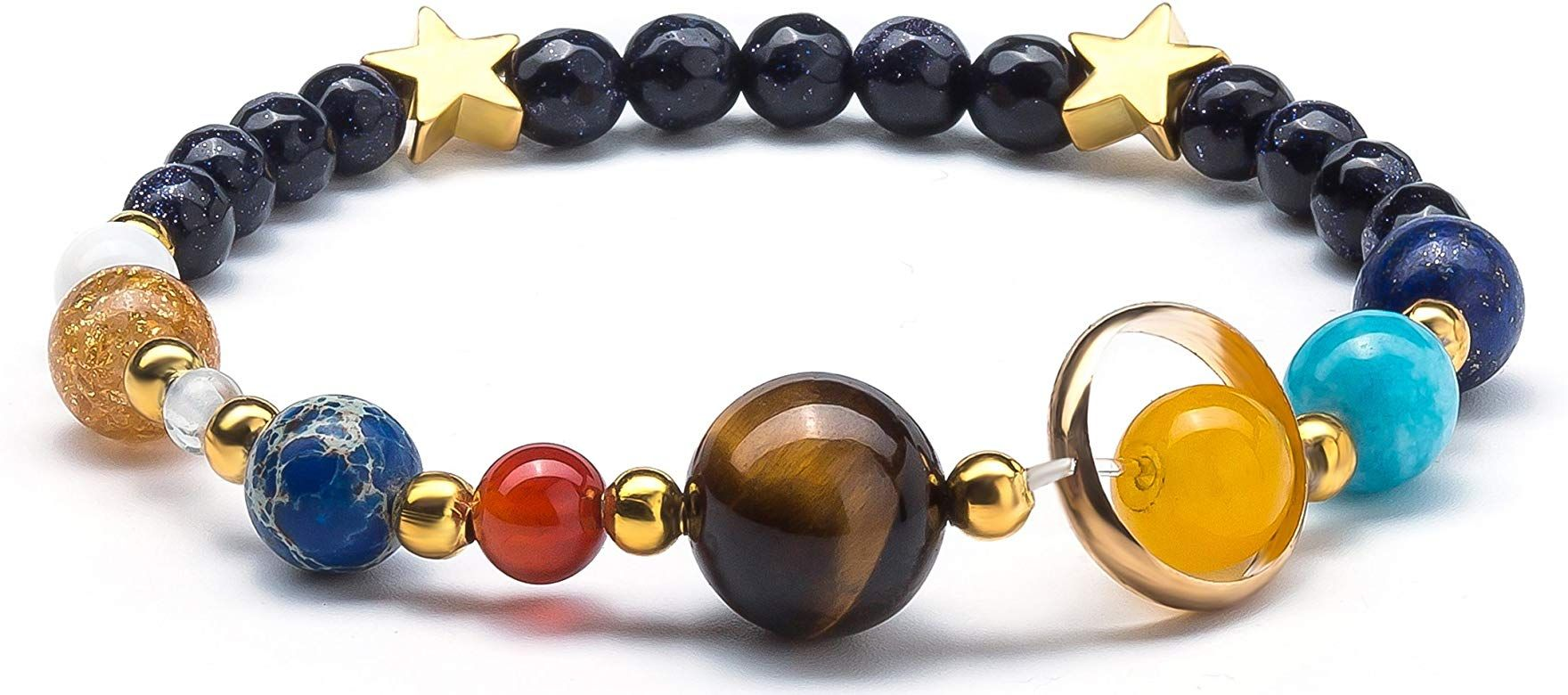 Fesciory Women Solar System Bracelet Universe Galaxy The Eight Planets Guardian Star Natural Stone Beads Bracelet Bangle for Men