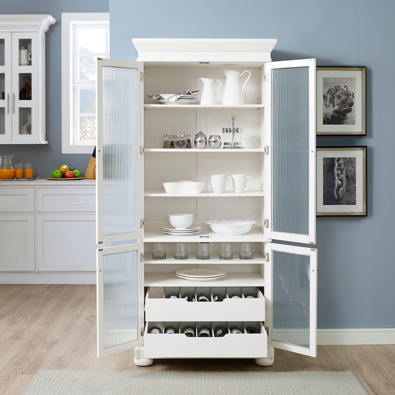 Tall Slim White China Cabinet Alexandria White Kitchen Storage White China Cabinets Kitchen Pantry