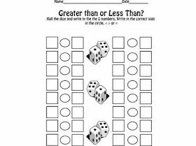 Comparing Numbers-Have students roll three/ four dice to