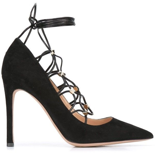 Valentino 'Rockstud' lace-up pumps (€860) ❤ liked on Polyvore featuring shoes and pumps