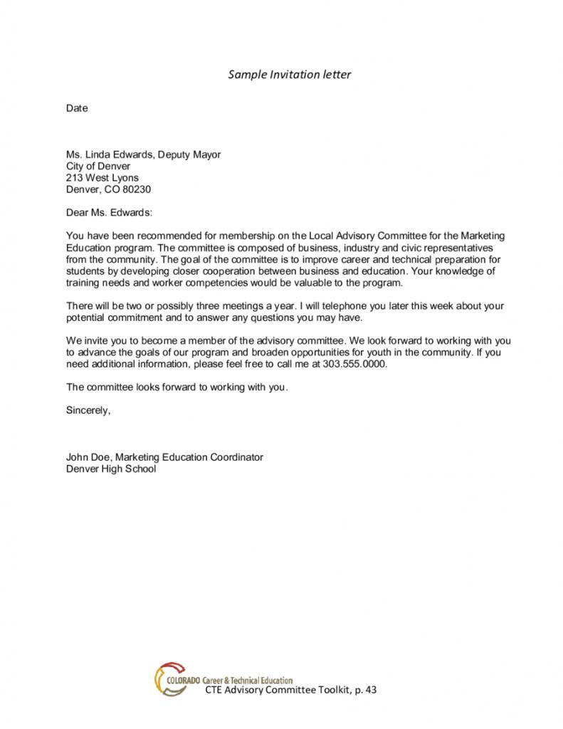 Short Formal Invitation Letter di 2020
