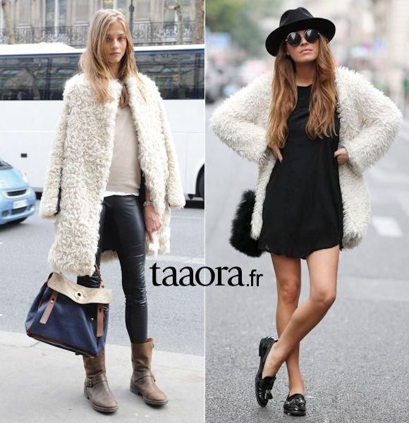 veste hiver femme en fourrure blanche