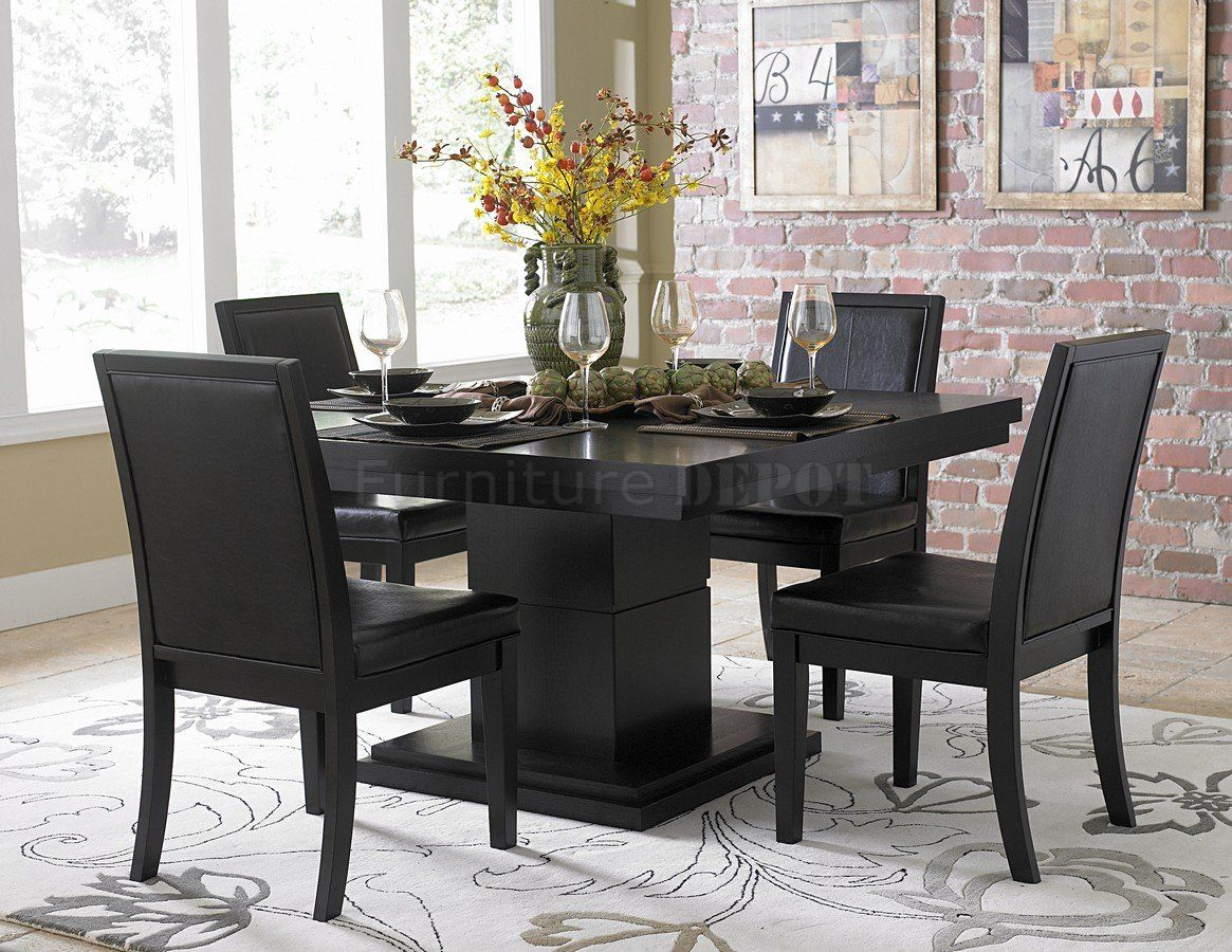 black finish modern dining table woptional side chairs  dining  - black finish modern dining table woptional side chairs