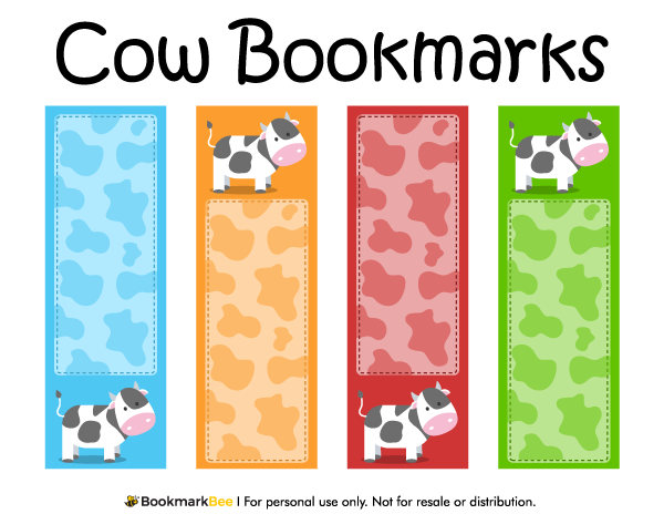 Free printable cow bookmarks download the pdf template at http bookmarkbeecom bookmark cow for Printable bookmarks pdf