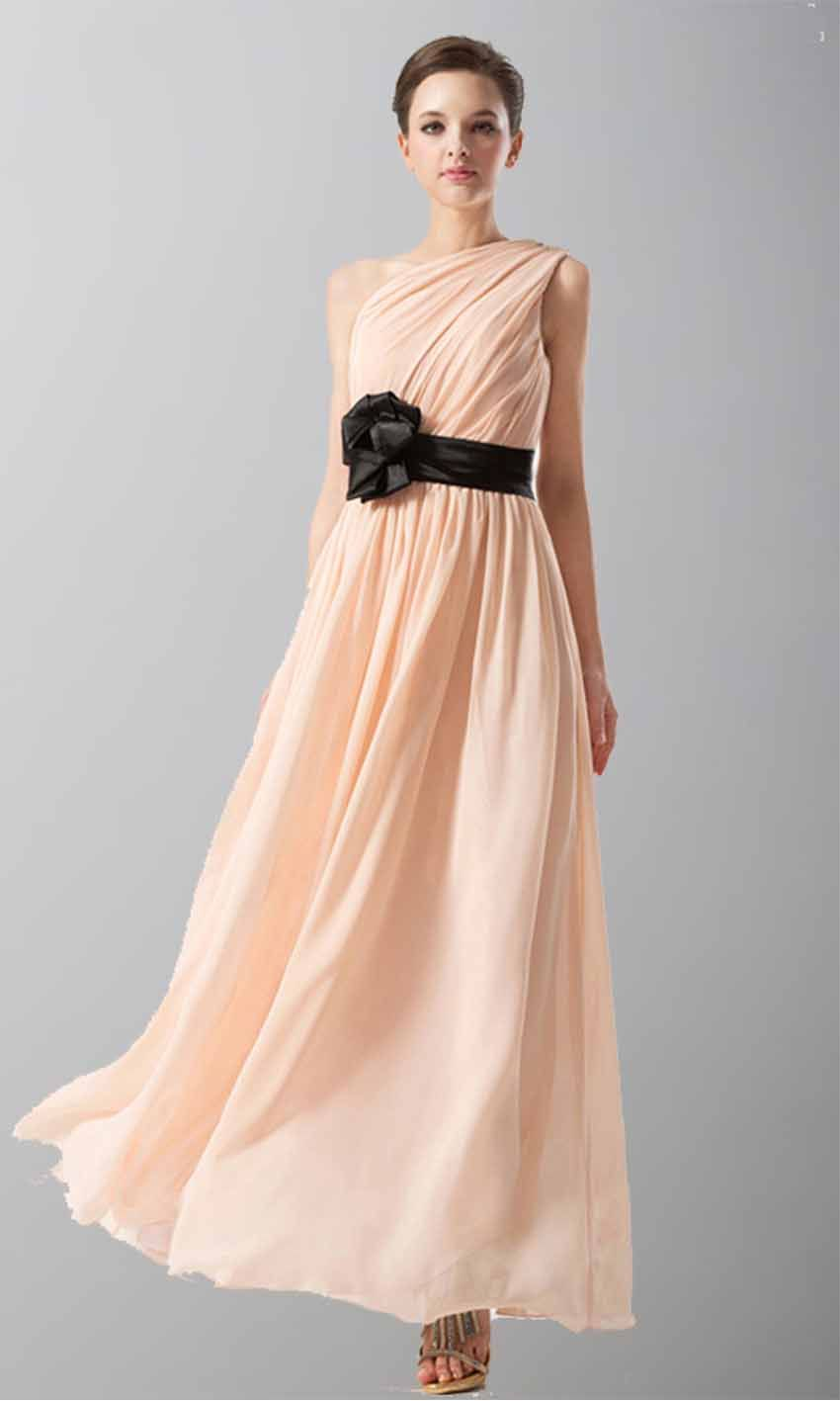 Pink one shoulder long chiffon bridesmaid dress with belt ksp167 pink one shoulder long chiffon bridesmaid dress with belt ksp167 ombrellifo Image collections