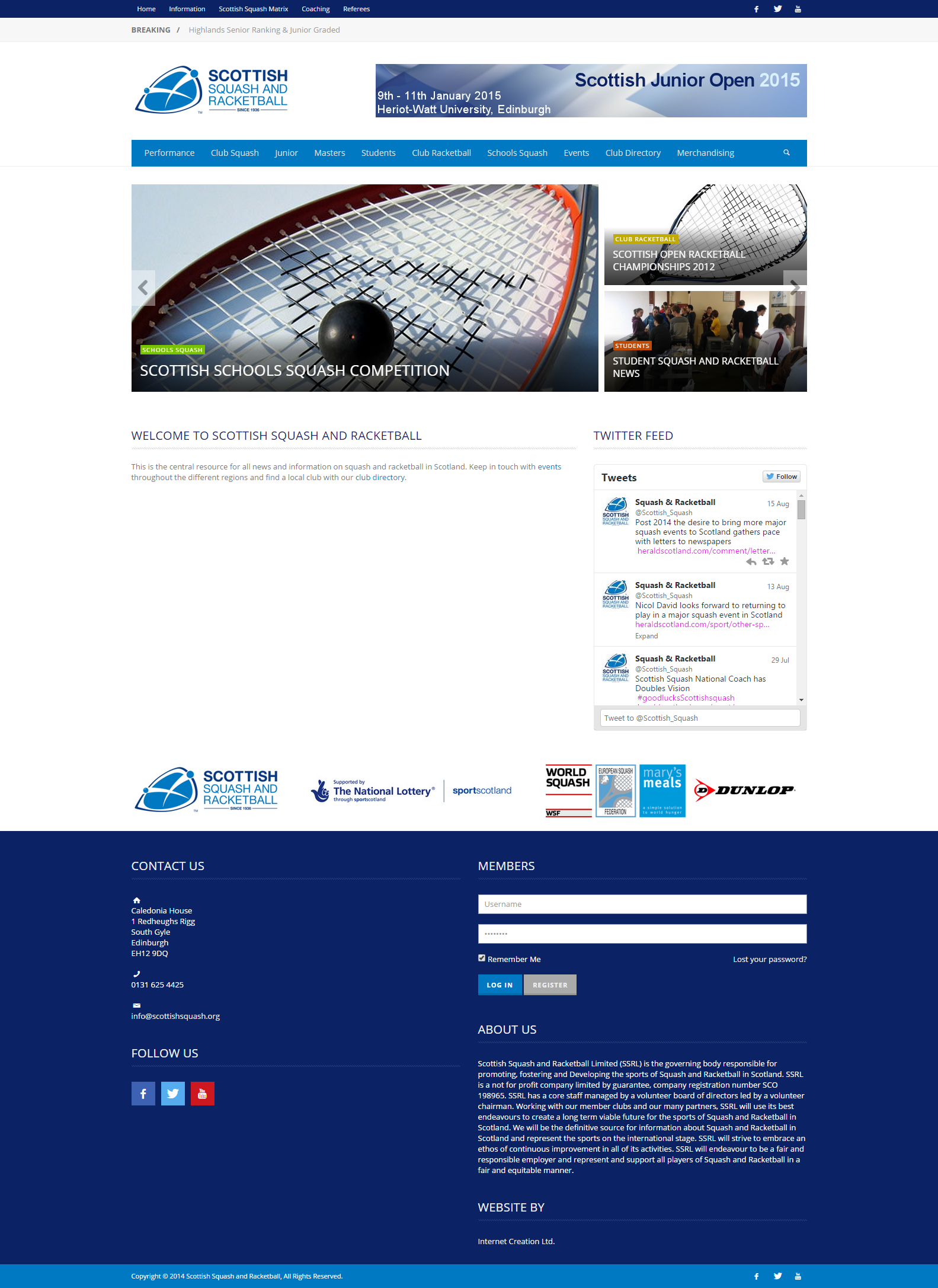 Scottish Squash And Racketball S New Website Http Www Scottishsquash Org Web Design Website Competition