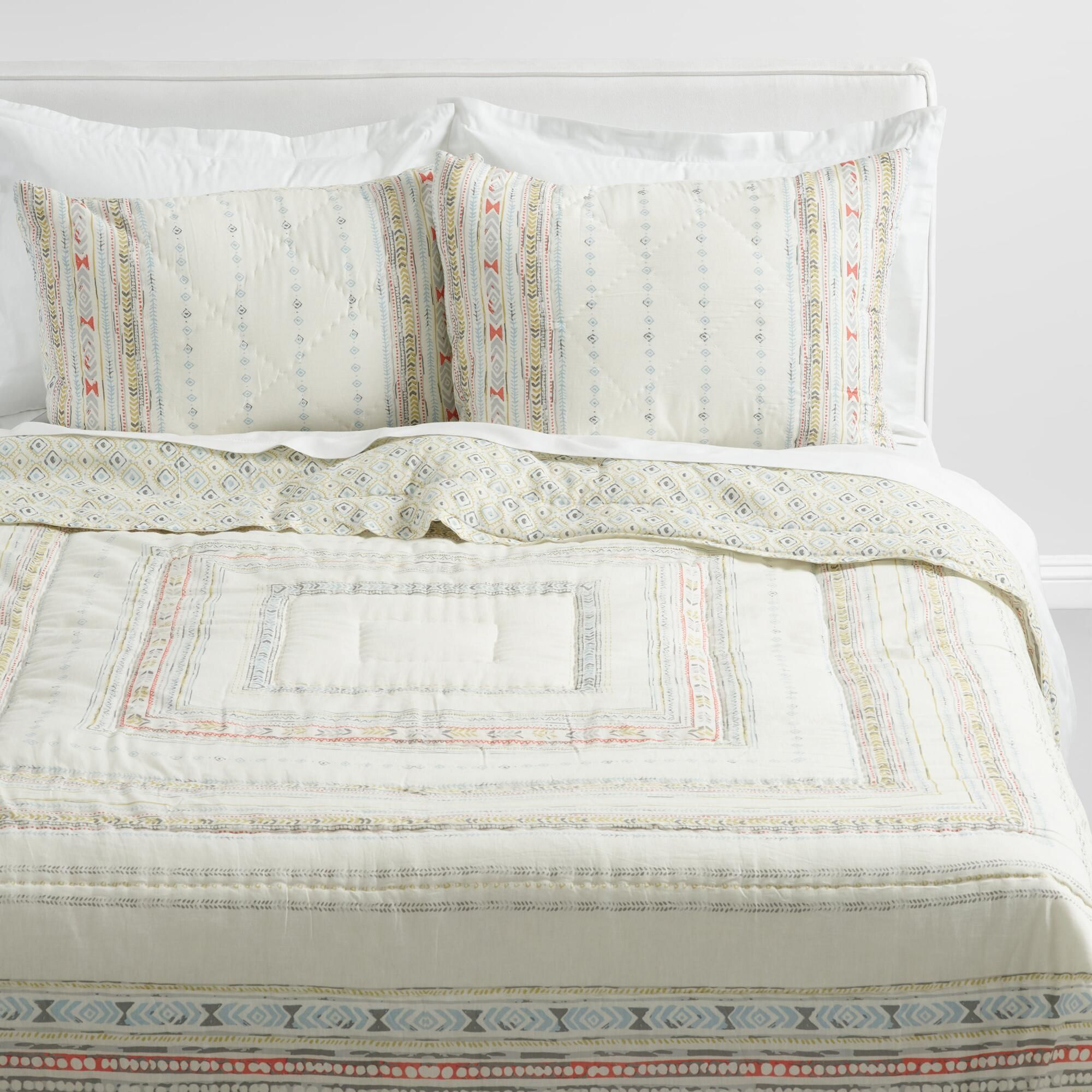 Blue And Coral Squares Dalia Quilt By World Market Bed Linens