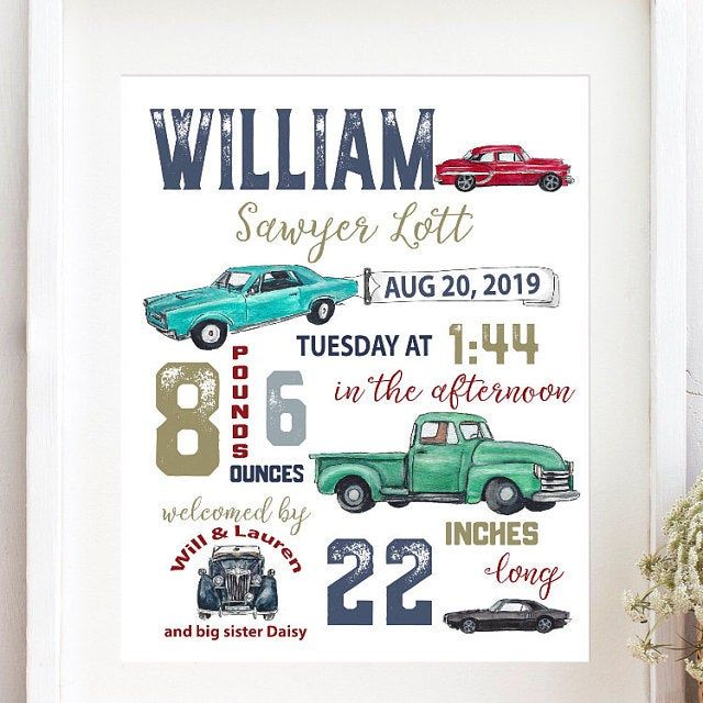 Vintage Car, Nursery, Birth stats, Birth details, Automobile, birth Announcement, Baby gift, Classic Cars, New baby, Personalized, Keepsake