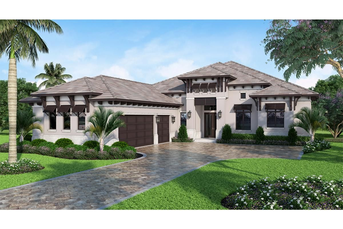 House Plan 046 00236 Country Plan 3 388 Square Feet 4 Bedrooms 4 Bathrooms Florida House Plans Mediterranean Style House Plans Mediterranean House Plans