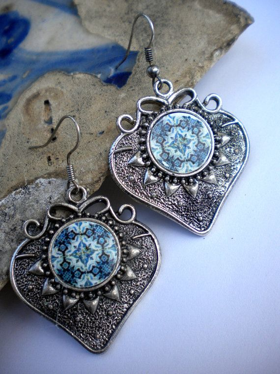 61530ea647a3 Portugal Antique Tile Replica Earrings Blue AVEIRO by Atrio ...