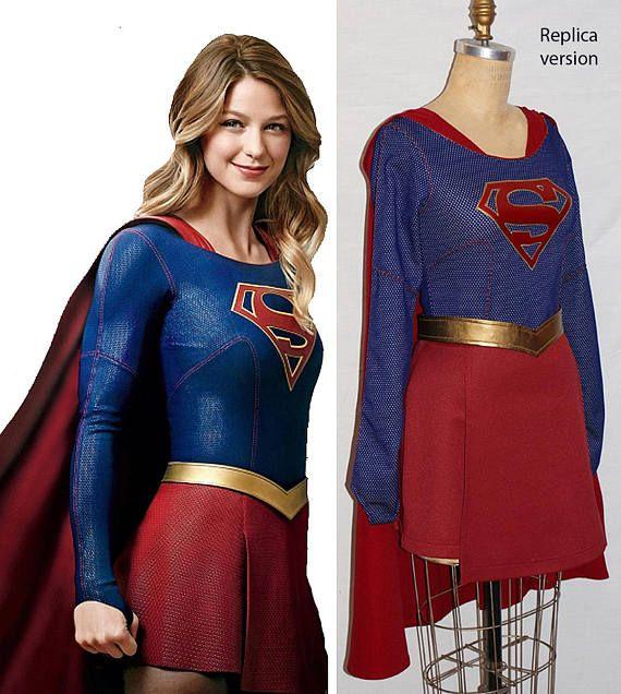 Supergirl Kara Zor-El cosplay costume Halloween Retro Cape cloak Free Shipping F