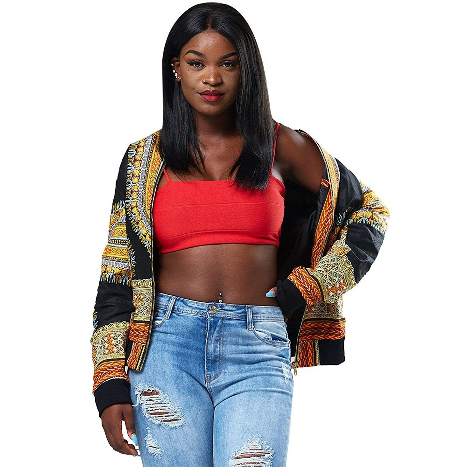 Women's Long Sleeve African Print Dashiki ZipUp Short