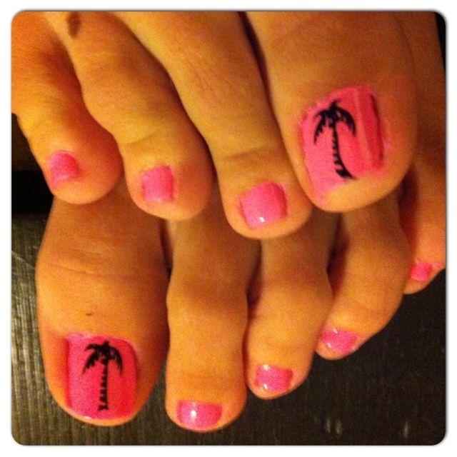 Palm Trees Perfect For The Florida Summer Toe Nails Spring Break Nails Florida Nails