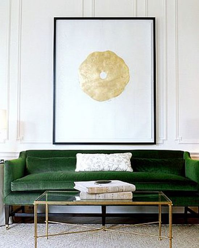 Emerald Velvet Sofa, Brass And Glass Coffee Table, Large