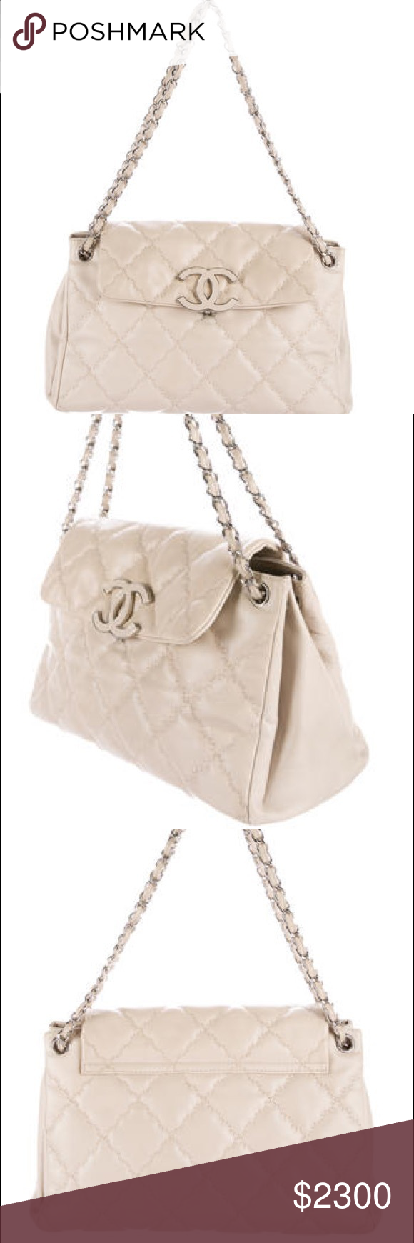 5177149b29c76d Authentic Chanel Quilted CC Accordion Flap Bag Beige quilted lamb skin Chanel  Hampton CC Accordion Flap Bag. Silver-tone hardware. Dual leather and ...