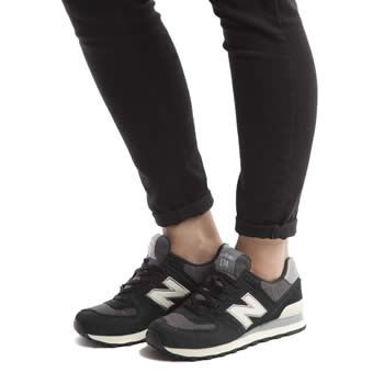 womens black and white new balance 574
