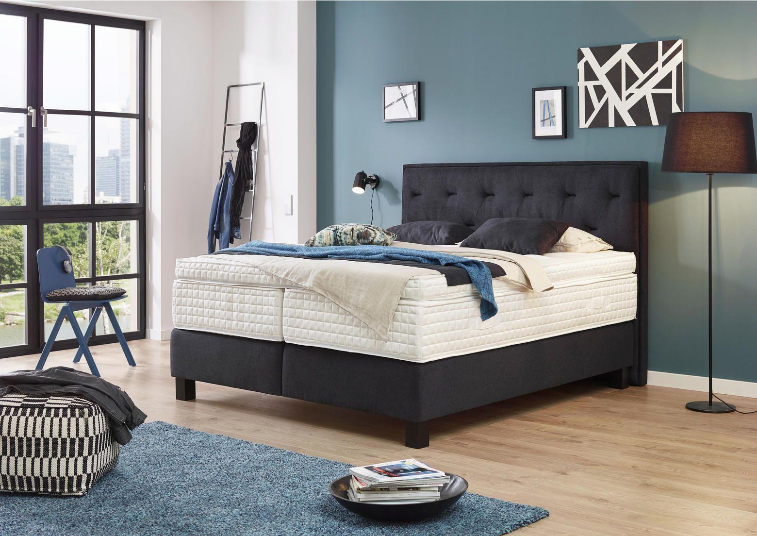 Boxspringbett 180x200 Textil Dunkelgrau Bett