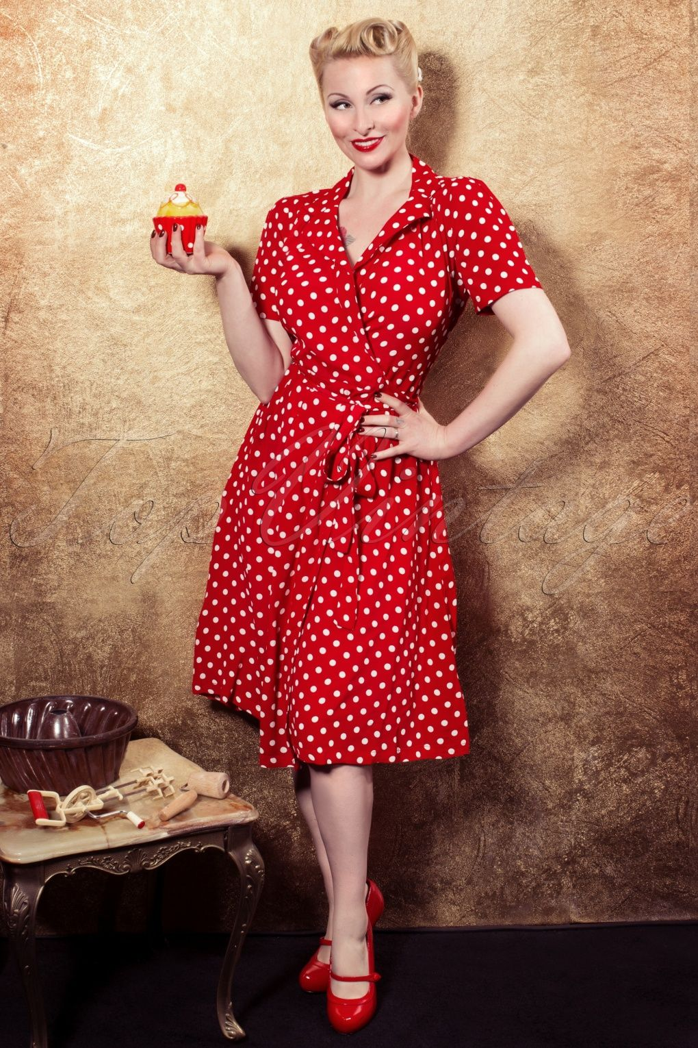 9bf5a8f78b691 The Seamstress of Bloomsbury - 40s Peggy Wrapover Dress in Red and White