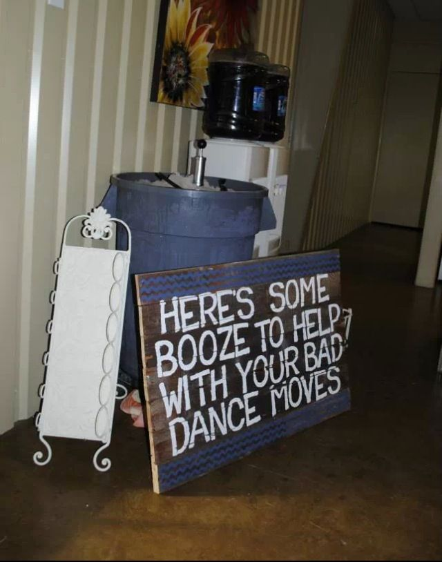 drink sign at wedding