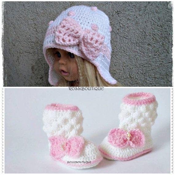 Häkeln Baby Set Rosa Satz häkeln Hut häkeln von ROSSIBOUTIQUE   Baby ...