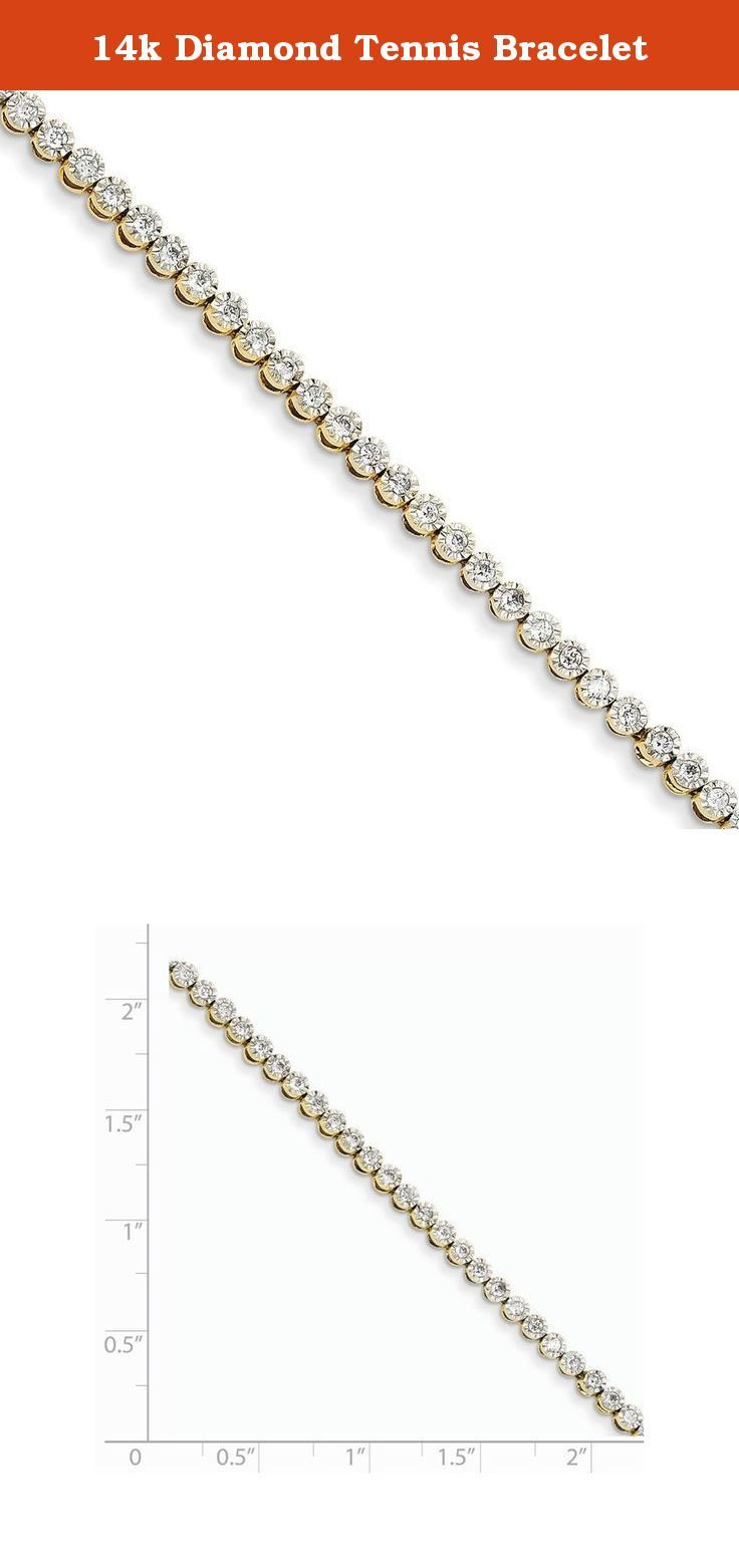 14k Diamond Tennis Bracelet. Attributes Polished 14k Yellow gold Diamond Box catch A quality Product Description Material: Primary - Purity:14K Finish:Polished Stone Type 1:Diamond Stone Quantity 1:58 Length of Item:7 in Stone Weight 1:0.0172 ct Stone Clarity 1:I2 (A) Chain Length:7 in Chain Width:3 mm Clasp /Connector:Box Catch Feature:Solid Manufacturing Process:Casted Material: Primary:Gold Stone Shape 1:Round Stone Treatment 1:Heating Product Type:Jewelry Jewelry Type:Bracelets…