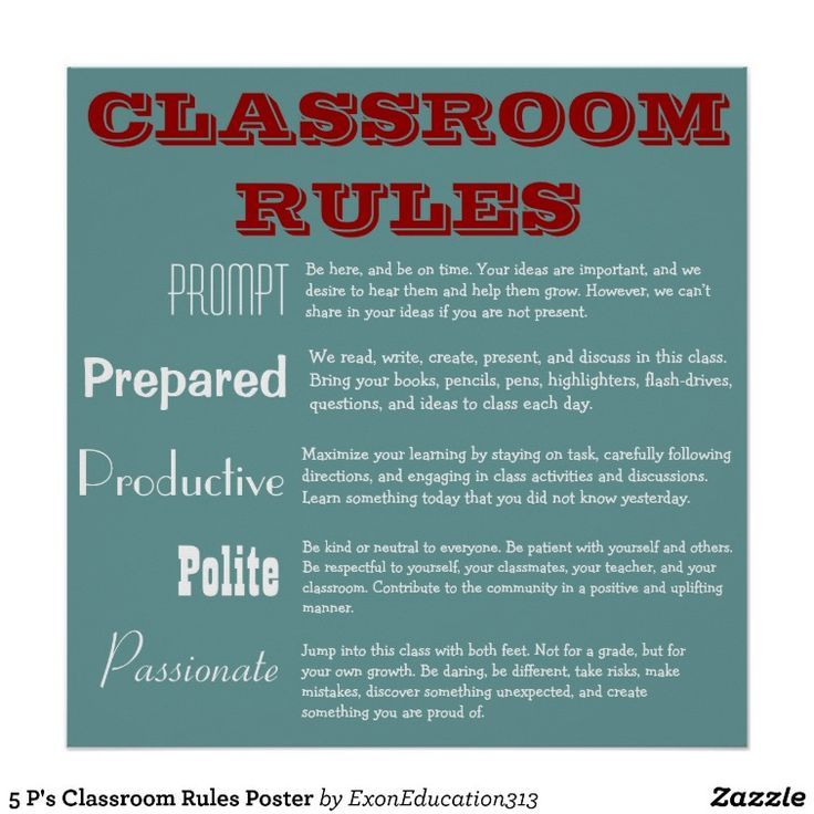 Rules Procedures: 5 P's Classroom Rules - Google Search