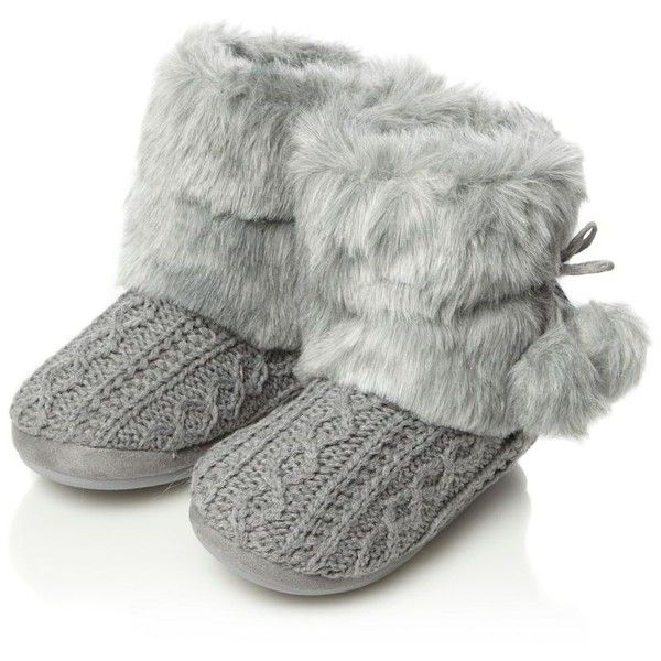 5ca151d8bf7b Grey cable knitted faux fur boot slippers ($26) ❤ liked on Polyvore ...