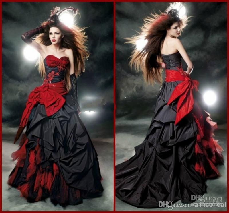 Black And Red Gothic Wedding Dresses 2018 Vintage Court Style ...