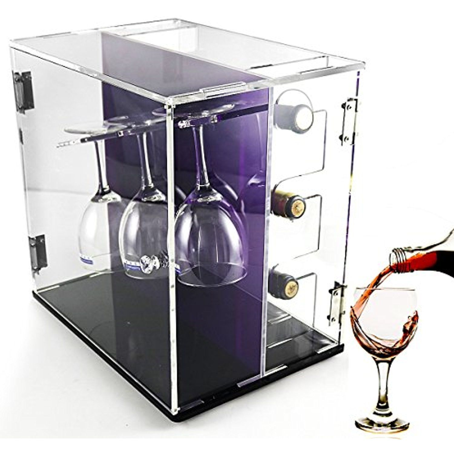 Deluxe Wine Storage Rack Clear Acrylic Wine Cabinets With Glass