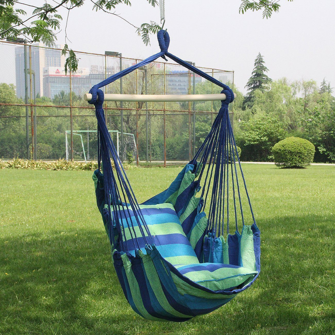 Amazon sorbus blue hanging rope hammock chair swing seat for
