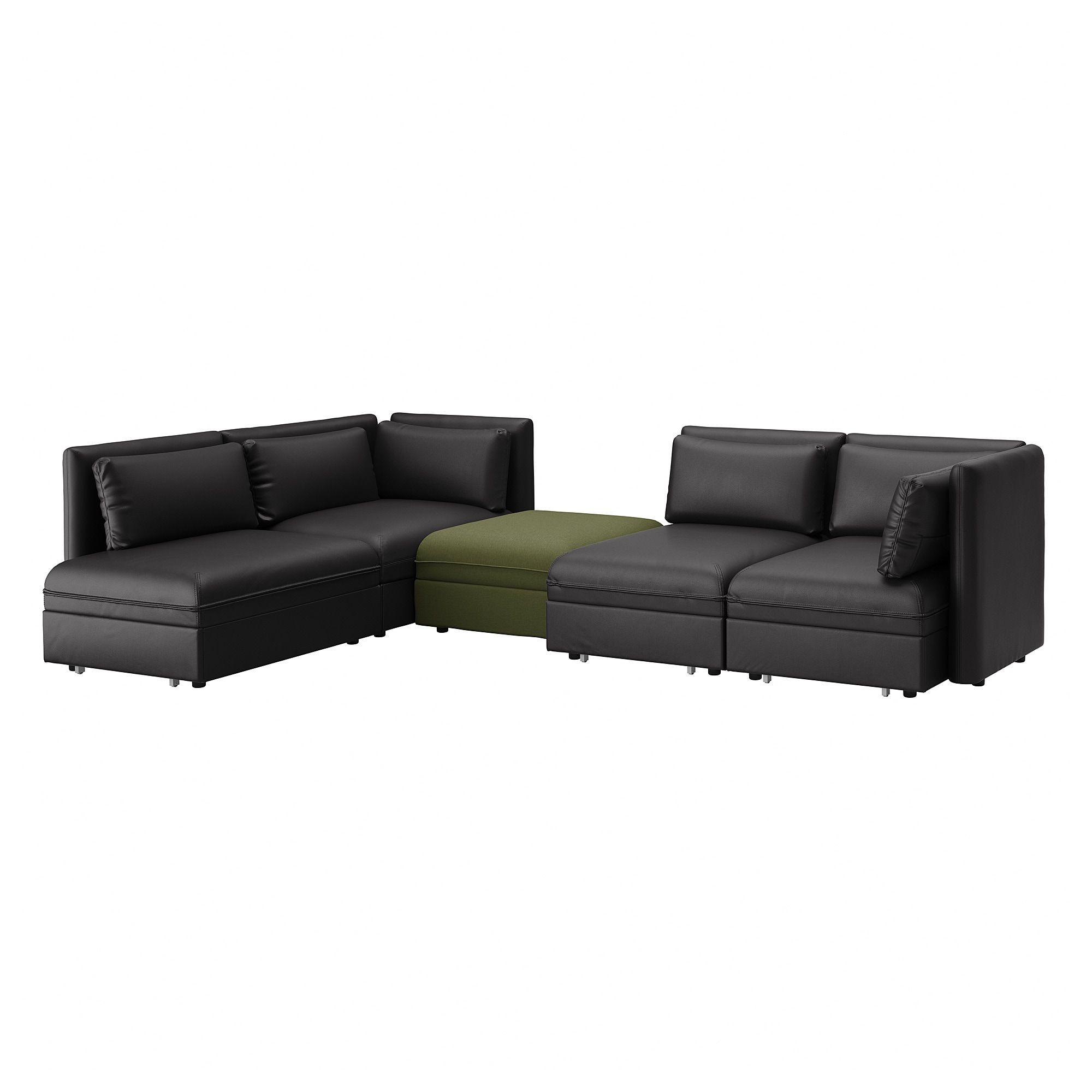 Vallentuna Mod Sofa 4 Seat W 3 Slpr Sections And Storage Murum Orrsta Black Olive Green Ikea Modular Corner Sofa Corner Sofa Corner Sofa Bed