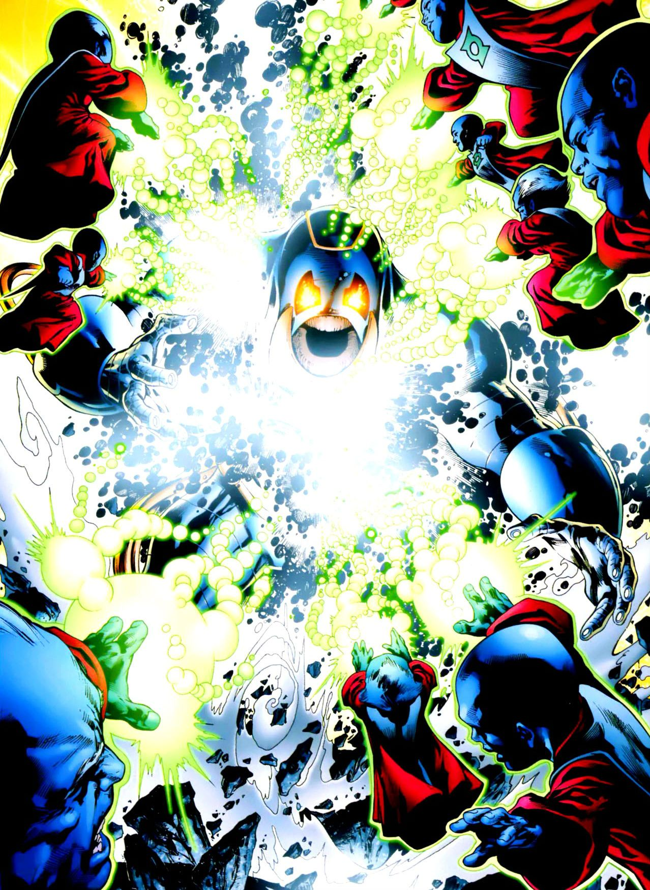 The Guardians of the Universe vs Anti-Monitor by Ivan Reis