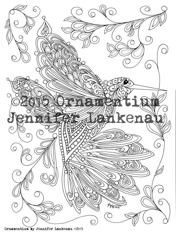 ETSY: Coloring Page for Adults by Jennifer Lankenau Illustration From Ornamentium: Hummingbird