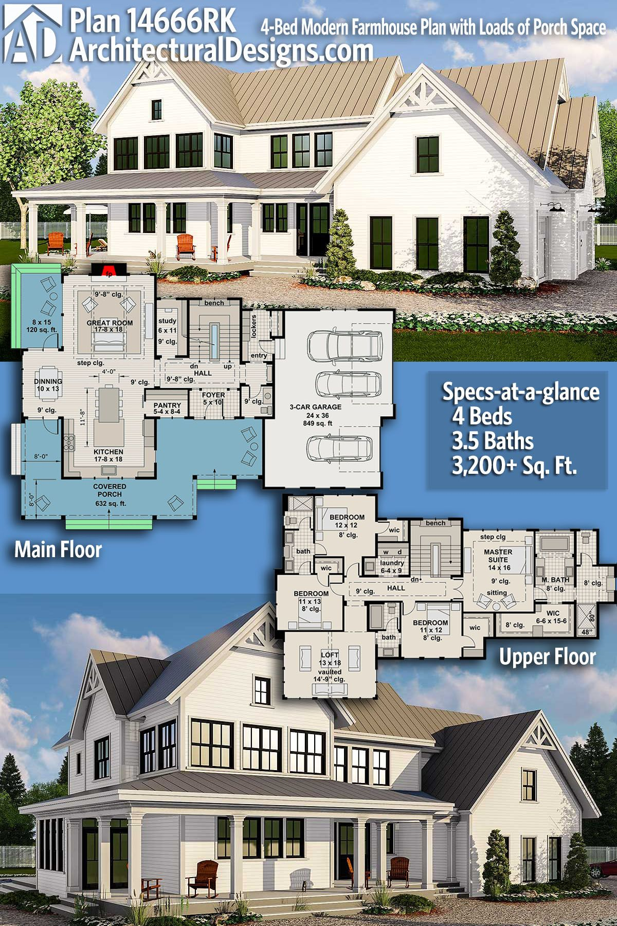 Plan rk modern farmhouse plan with loads of porch space in