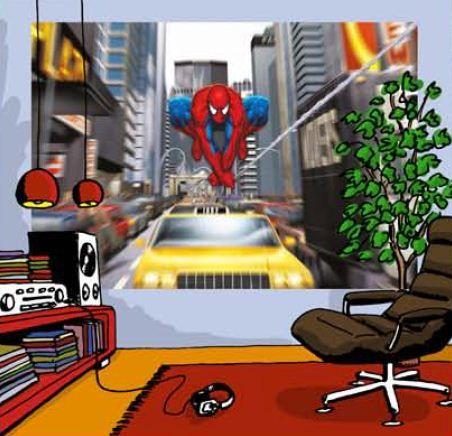 fresque murale marvel spider man 184cm rush hour en papier peint maxi poster street art. Black Bedroom Furniture Sets. Home Design Ideas