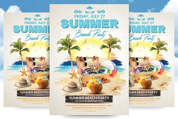 Summer Beach Party Flyer Template Summer beach party, Flyer