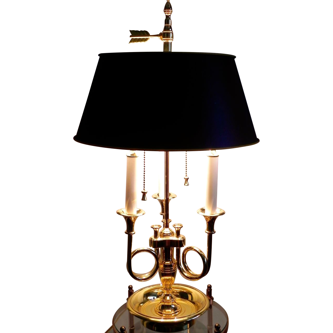Baldwin brass trumpet french horn 3 arm bouillotte table lamp orig baldwin brass trumpet french horn 3 arm bouillotte table lamp orig shade vtg aloadofball Choice Image