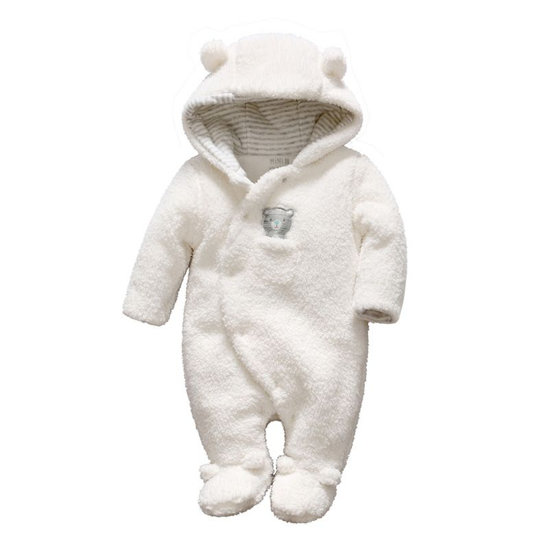 d9d702168 Newborn baby clothes bear onesie baby girl boy rompers hooded plush ...