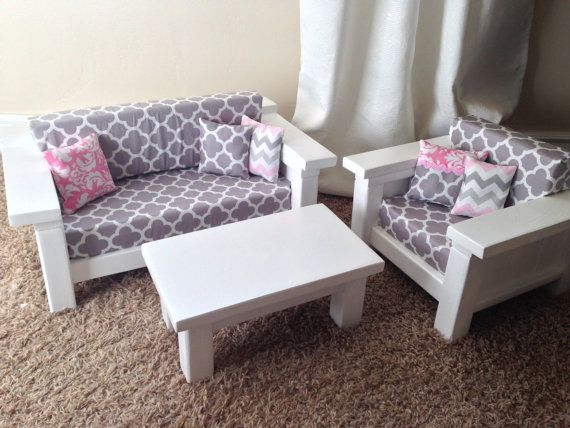 American Girl Doll Furniture 3 Pc Living Room By Dutchdarling American Girl Furniture American Girl Doll Furniture American Girl Doll Bed