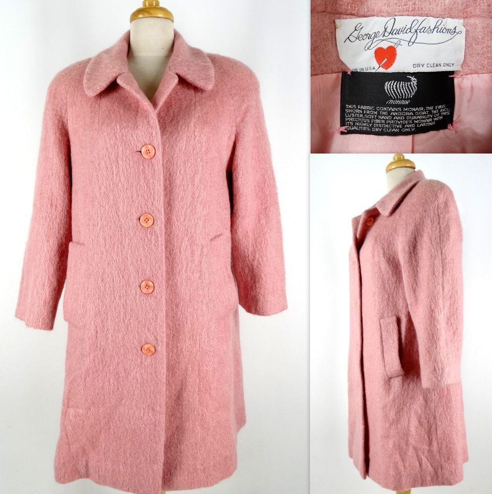 Vtg GEORGE DAVID Fashions Coat Jacket L Pink 8% Mohair Wool