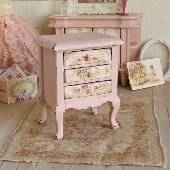 Dollhouse miniature gold chest of drawers with pink flower decoupage 1:12 scale