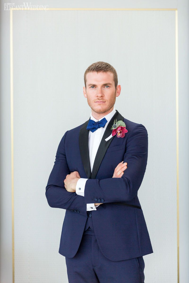 Navy Wedding Suit With Red Boutonniere, Vintage Meets Modern Glam ...