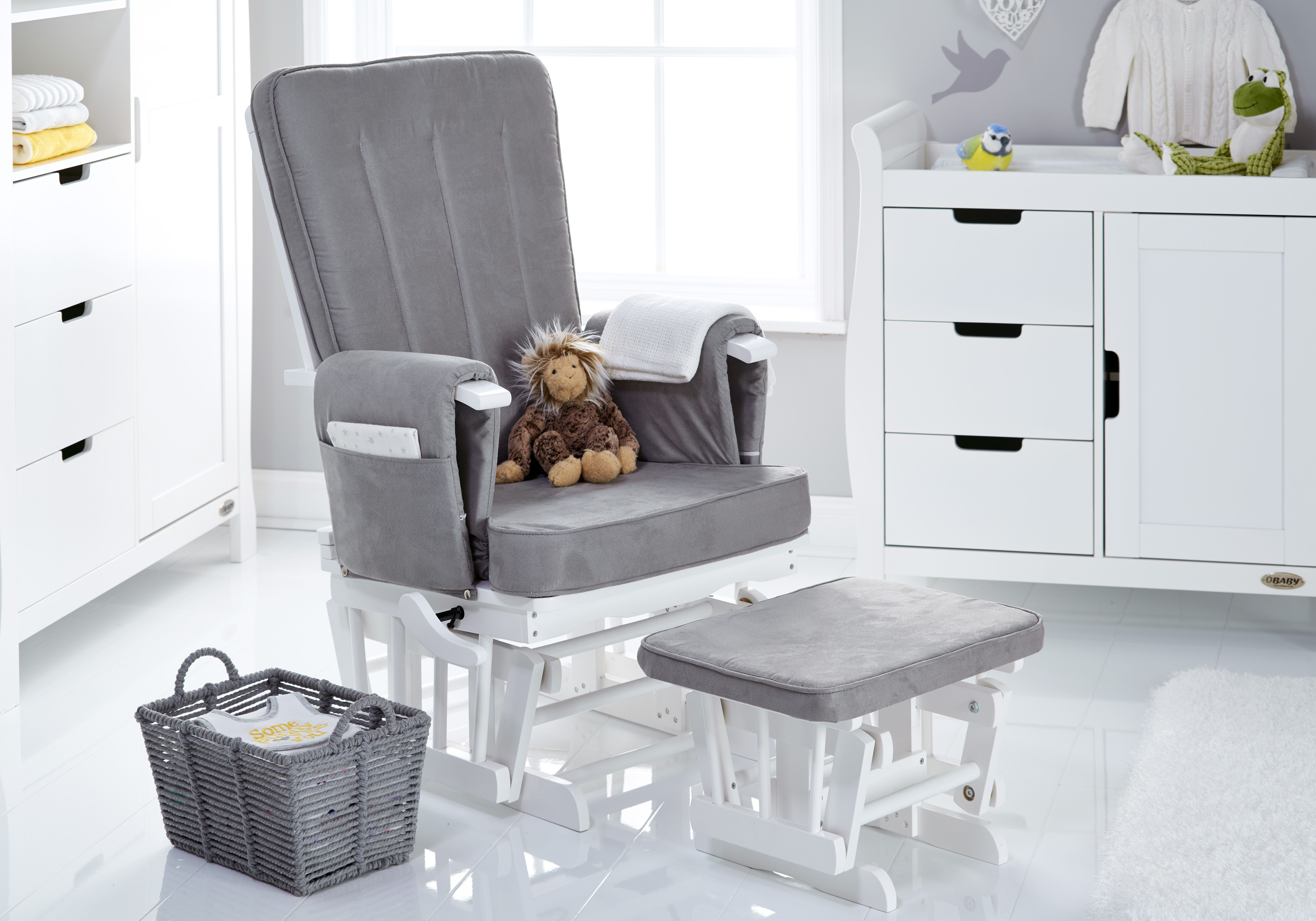 Obaby Deluxe Reclining Gliding Chair & Stool White with