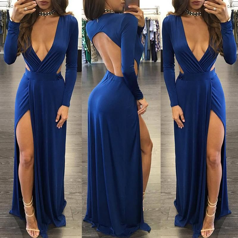 d9b57f24b32 High Slit Hollow Back Shirring Maxi Dress